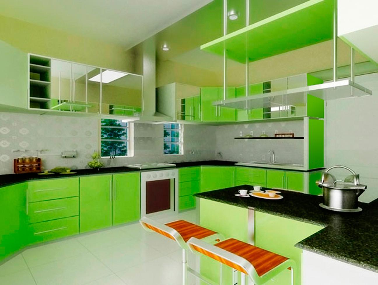 Кухня в салатовом цвете картинки